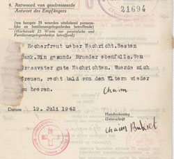 Chaim Meir's telegram to Moshe Stiel with a message for his parents. The message was never delivered. (Courtesy of The Netherlands Red Cross)