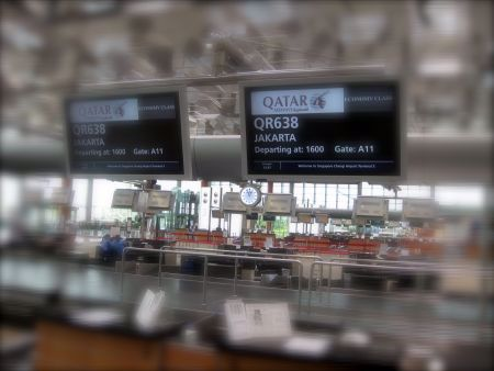 Check-in counter at Singapore en-route to Jakarta.
