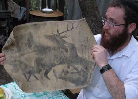 This picture showing wolves attacking a deer was drawn at the height of the Holocaust.