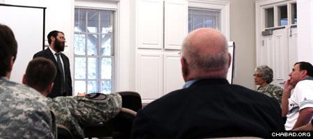 Rabbi Menachem Katz gives a lecture at Army Community Service, Bldg. 65 at Fort McPherson. (Photo: Kevin Stabinsky)