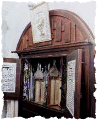 Ark for Torah scrolls in the synagogue in Hebron.