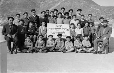 A class of students at the Chabad school in Morocco, the country to which the Rebbe sent his first emissary