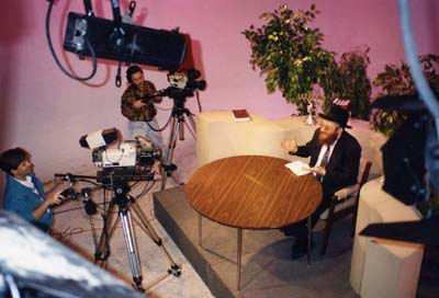 A Chabad Rabbi records his weekly television show