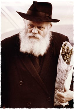 The Rebbe brings willows to the synagogue for the Hoshannah Rabbah prayer service