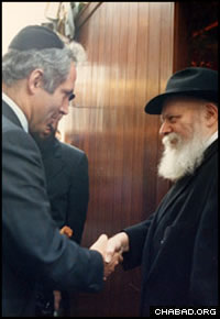 Future Israeli Prime Minister Benjamin Netanyahu meets the Rebbe, Rabbi Menachem M. Schneerson, of righteous memory, during the holiday of Sukkot.