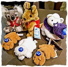 The Sydney Jewish Museum gift shop features some uniquely Aussie souvenirs, including plush toy animals wearing yarmelkas.