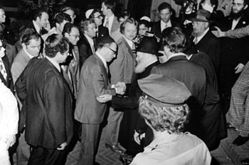 The Rebbe, of righteous memory, greets Israeli Prime Minister Menachem Begin, prior to his private audience with the Rebbe.