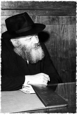 """The Rebbe, of righteous memory, in his office, where he would receive people for private audiences, known as """"Yechidus."""""""