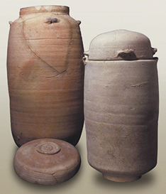 The clay jars in which many of the better preserved scrolls were found.