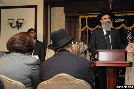 Rabbi Ben Tzion Krasnianski, director of Chabad-Lubavitch of the Upper East Side of Manhattan, emceed the Nov. 16 memorial ceremony, which occurred exactly one year after terrorists stormed the Chabad House in Mumbai, India, and murdered its two directors, Rabbi Gavriel and Rivka Holtzberg, and four of their Jewish guests. Philanthropist George Rohr also spoke at the event. (Photo: David Levi)