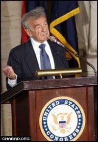 Wiesel, a Nobel laureate, addresses United States legislators.