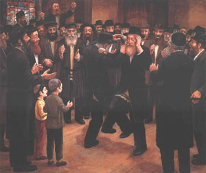 Many Chassidim Dancing