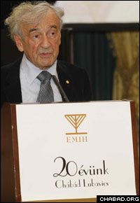 Wiesel's presence in Budapest introduced a week of Chanukah celebrations.