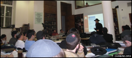 Rabbi Shais Taub leads a lecture at the Mayanot Institute of Jewish Studies in Jerusalem.