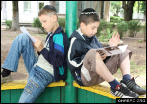 Ohr Avner Chabad students study during a break in Odessa, Ukraine.