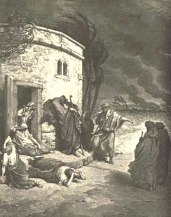 """Bad News Reaches Job"" - an engraving by Gustave Doré"
