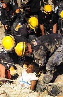 A woman is rescued alive from rubble several days after the Haiti eathquake (Wikipedia)