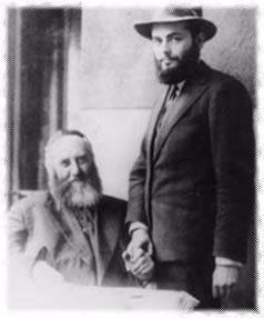 The Previous Lubavitcher Rebbe, Yosef Yosef Schneerson, with his son-in-law, the Rebbe, Menachem Mendel Schneerson.
