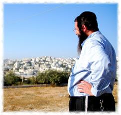 Rabbi Danny Cohen overlooking the city of Hebron