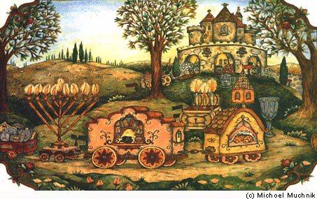 """The Mitzvah Train"" by chassidic artist Michoel Muchnik"