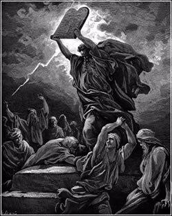 משה שובר את הלוחות המעוגלות. ציורו של גוסטב דורה