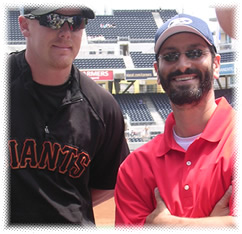 Major League catcher, Steve Holm, and Marc at Petco Park, San Diego.