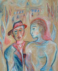 Detail from ''Young Couple'' by Chassidic artist Shoshannah Brombacher