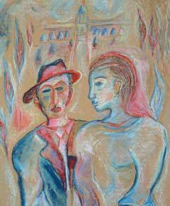"Detail from ""Young Couple"" by Chassidic artist Shoshannah Brombacher"