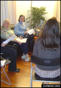 Rivky Druckman leads a class for Jewish women in Zug, Switzerland.
