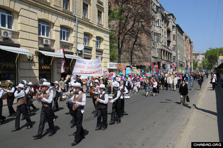 Hundreds of celebrants marched through the city's streets in a display of Jewish pride.
