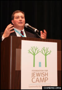 Jeremy Fingerman, the new CEO of the Foundation for Jewish Camp, addresses the organization's recent Leadership Assembly in New Jersey.