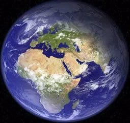 """""""A View From the Top."""" This is an image of the """"Upper Hemisphere"""" with the Spiritual Pole of Jerusalem in the center. Whatever lands you can see from this perspective are on the same side of the planet as the spiritual epicenter of the world. Whatever you cannot see are the """"Jewish Antipodes"""" or """"Lower Hemisphere"""" where Jewish people rarely tread until about a century ago."""
