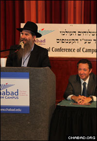 Rabbi Menachem Schmidt, left, serves as president of the Chabad on Campus International Foundation and is the executive director of the Lubavitch House at the University of Pennsylvania. (Photo: Bentzi Sasson)