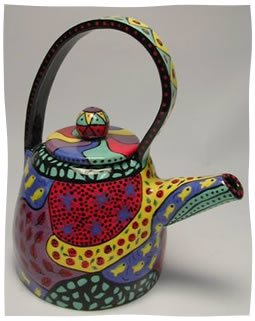 One of the teapots Dorothy created