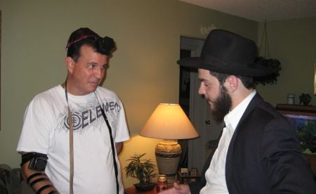 Reciting the Shema, a prayer that proclaims the oneness of G-d, with a Jew from Trinity.
