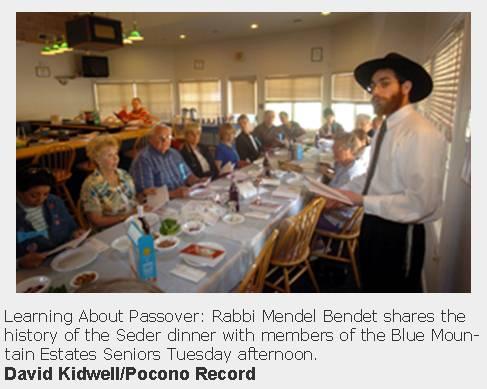 Model Seder - Pocono Record Picture - Chabad Lubavitch of