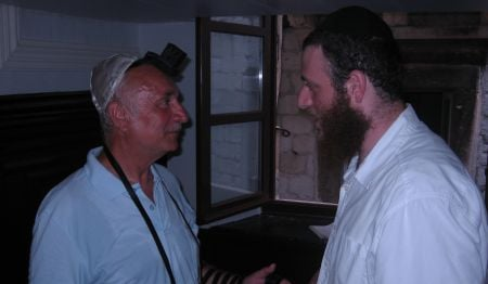 This gentleman from France was so touched by the experience of praying in tefillin that he decided to attend services every week when he comes back home.