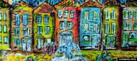 """Dahila Woods' """"Ghetto Vecchio"""" was among several works of art showcased in the MOTA show at InTown Chabad in Dallas."""
