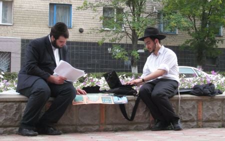 """Our portable """"office"""" on the streets of Zhmerynka."""
