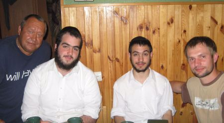 This photo of Moshe Chaim (one of the guests), ourselves and Matyash was taken on Sunday.