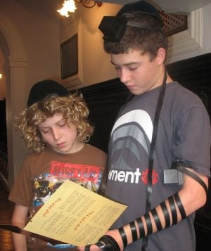 Two brothers recite the Shema together.