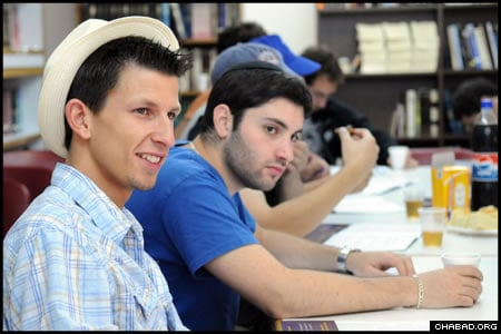 Participants of the IsraeLinks program study during a class at the Mayanot Institute of Jewish Studies in Jerusalem. Over the last three years, more than 300 American university students have joined the three-week program run by the Chabad on Campus International Foundation.