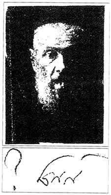 """Photographie de Rabbi Lévi Its'hak portant la mention manuscrite de son fils, le Rabbi, des initiales de """"Mon père, de mémoire bénie ?"""" Le point d'interrogation semble signifier l'étonnement du Rabbi devant les marques de souffrances portées par le visage de son père"""