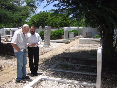Saying Psalms with Tony at his parents' grave.