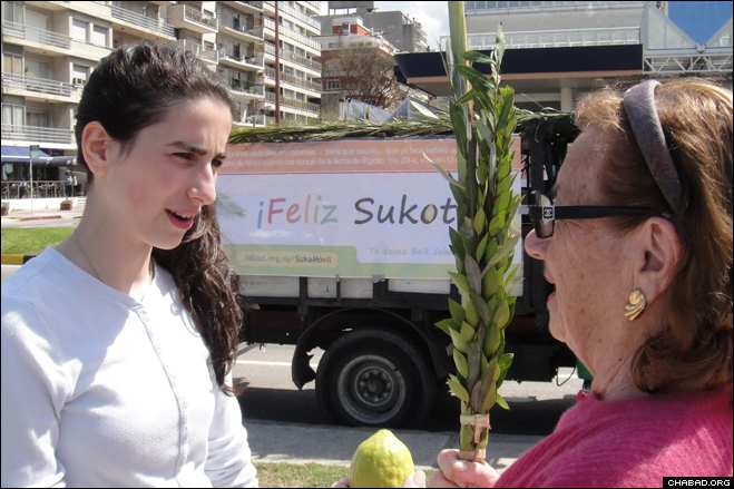 A Jewish resident of Montevideo, Uruguay, right, gets assistance in holding the biblically-commanded Four Species outside of a mobile sukkah parked on the riverfront by the local Chabad-Lubavitch center.