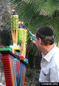 Previous years' celebrations have included a giant menorah made out of building blocks.