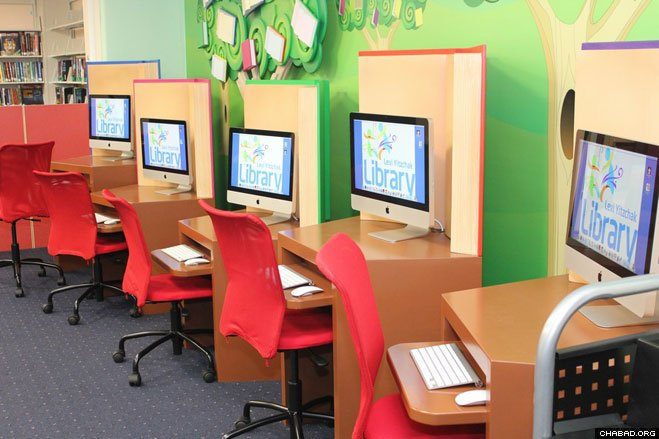 Organizers of the new Levi Yitzchak Jewish Children's Library in Cedarhurst, N.Y., stress that it has something for everyone, such as a bank of computers for older children.