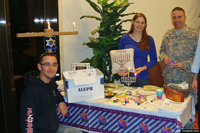 Rabbi Shlomo Shulman, a U.S. Army chaplain stationed in South Korea, held a Chanukah party for Jewish military personnel on the first night of Chanukah.