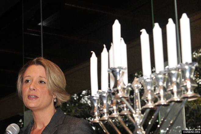 New South Wales Premier Kristina Keneally presides over a pre-Chanukah celebration at Sydney, Australia's Parliament House. The Yeshiva Centre, the regional Chabad-Lubavitch headquarters, organized the event with the New South Wales Jewish Board of Deputies.