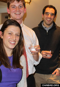 Students chill at a Chanukah party at Yale's Chabad House.